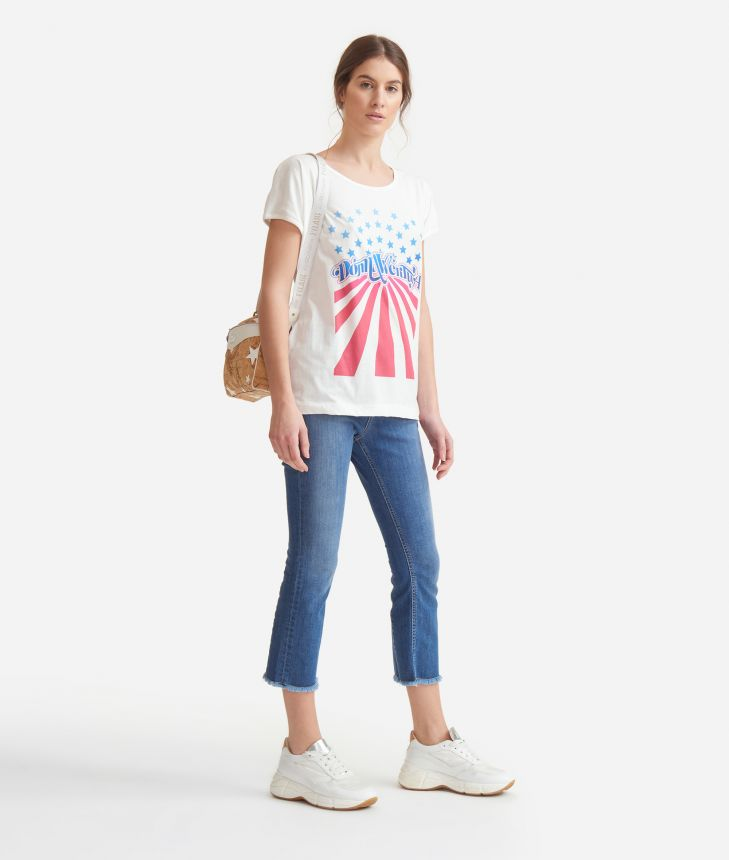 T-shirt with American flag print in jersey cotton White,front