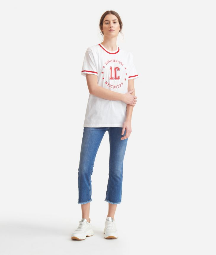 T-shirt with logo  in jersey cotton White,front