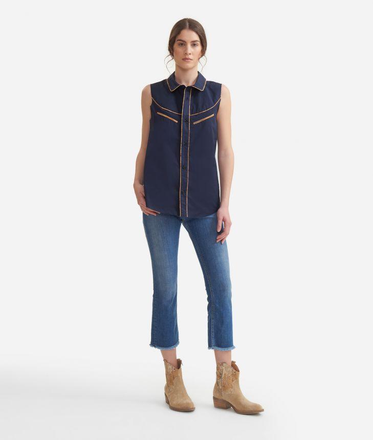 Rodeo sleeveless shirt in crisp cotton poplin Blue,front