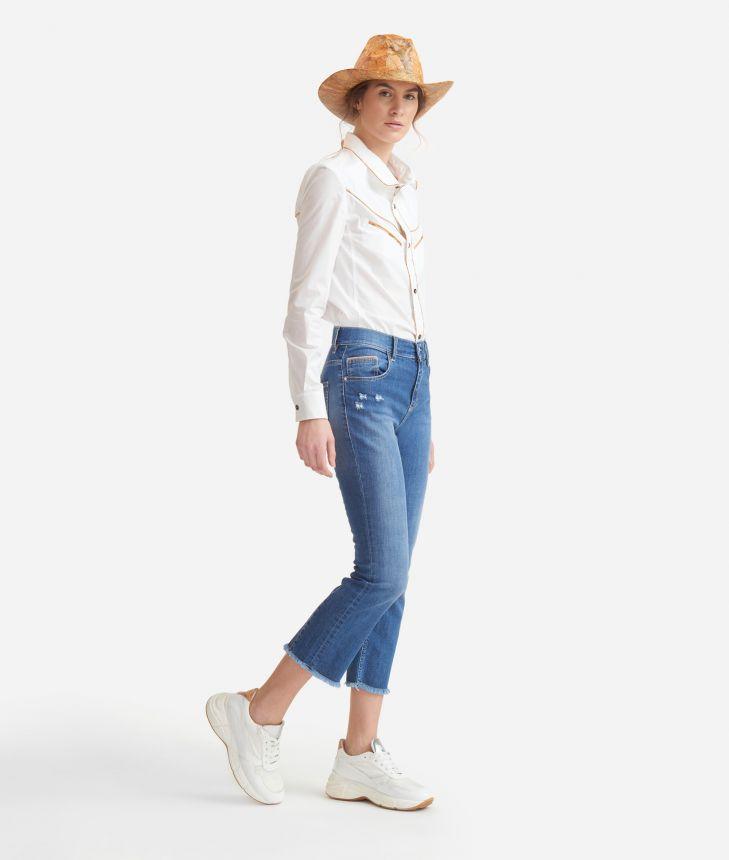 Rodeo shirt in crisp cotton poplin White,front