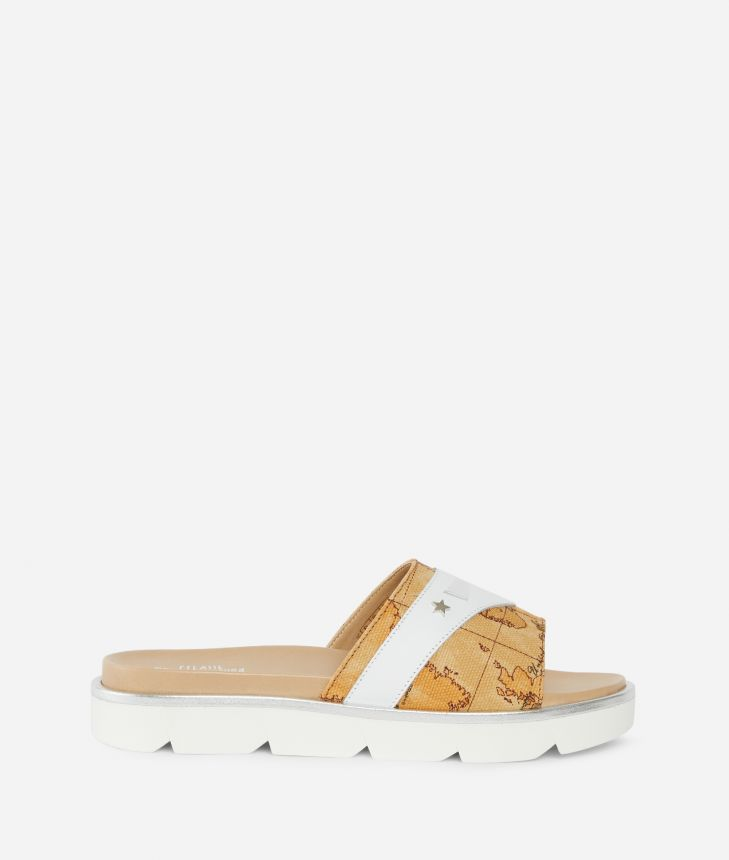 Sliders in leather and Geo Classic fabric White,front