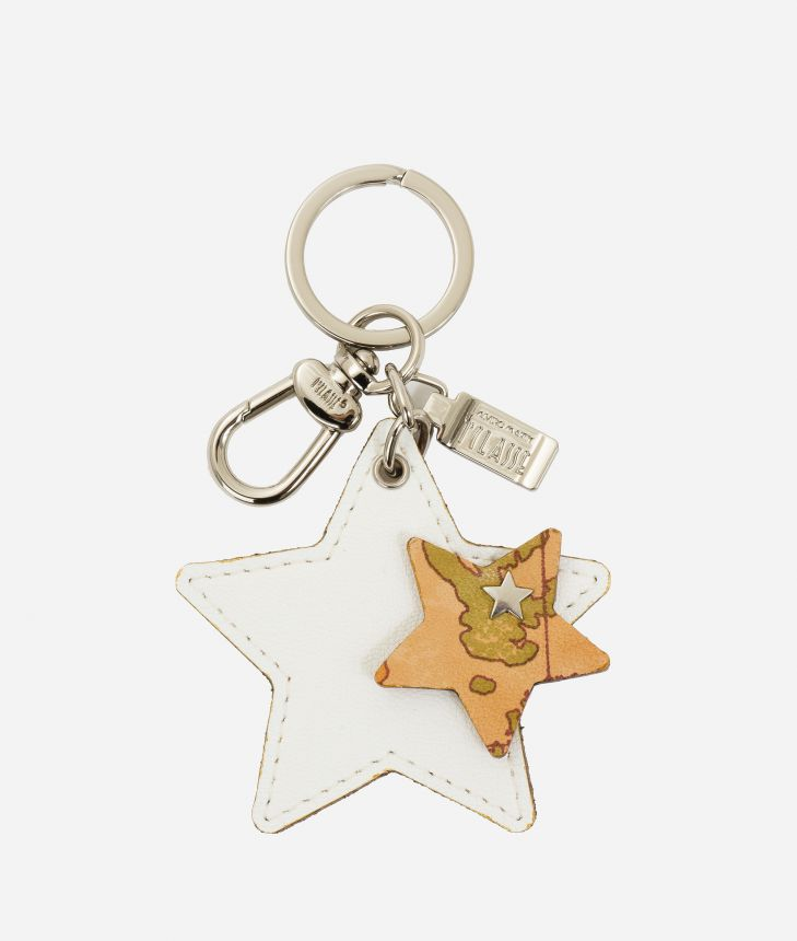 Star- shape keyring in smooth leather and Geo Classic details White,front
