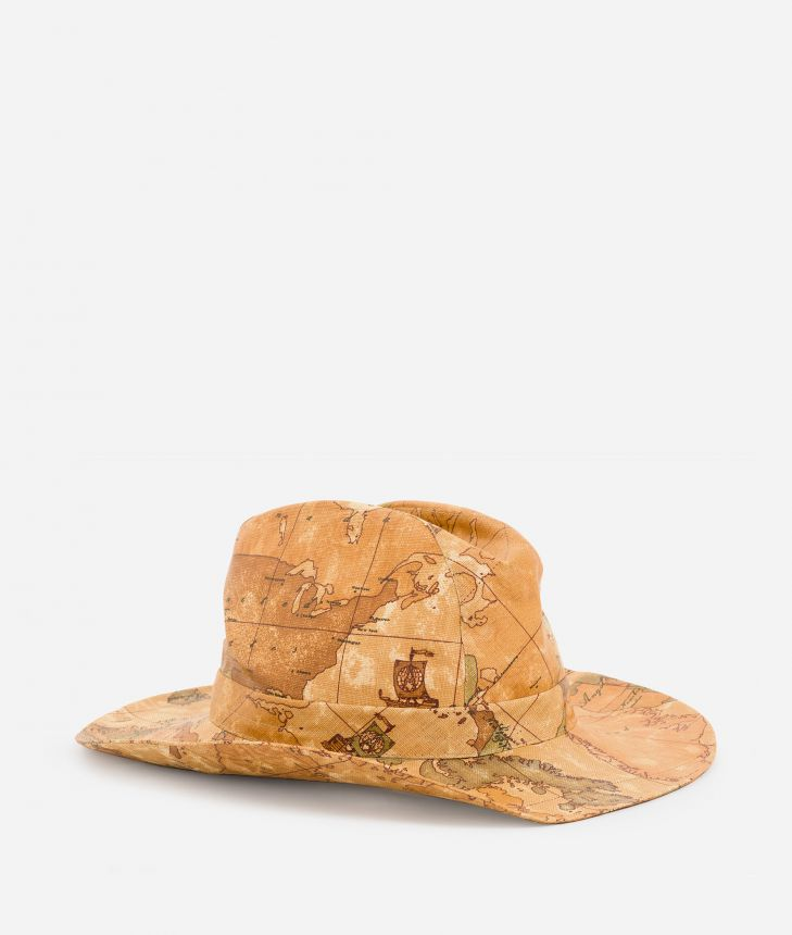 Cowboy hat in canvas with Geo Classic print,front