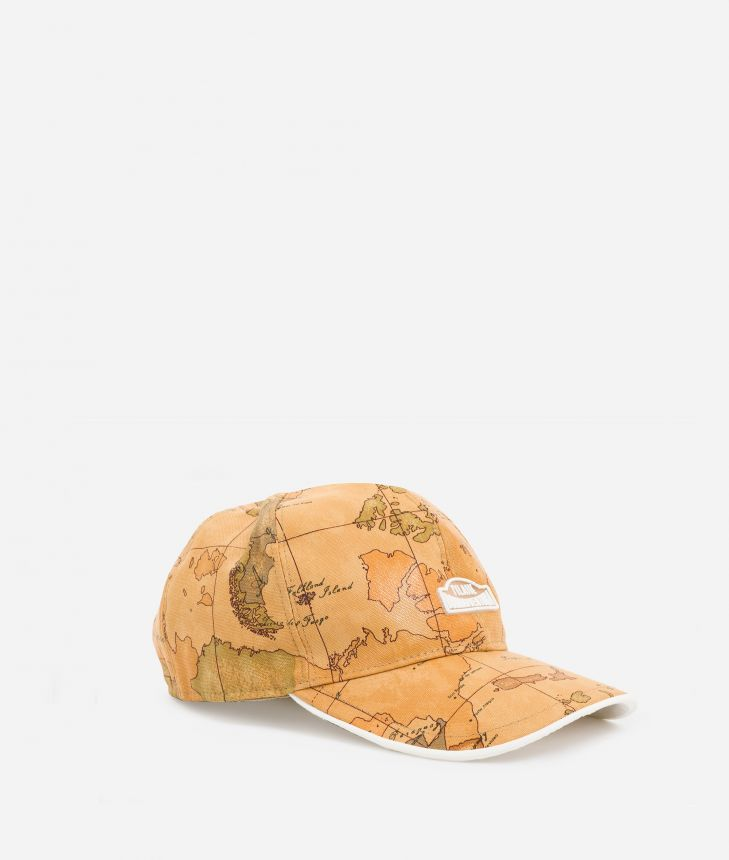 Baseball cap in canvas with Geo Classic print,front