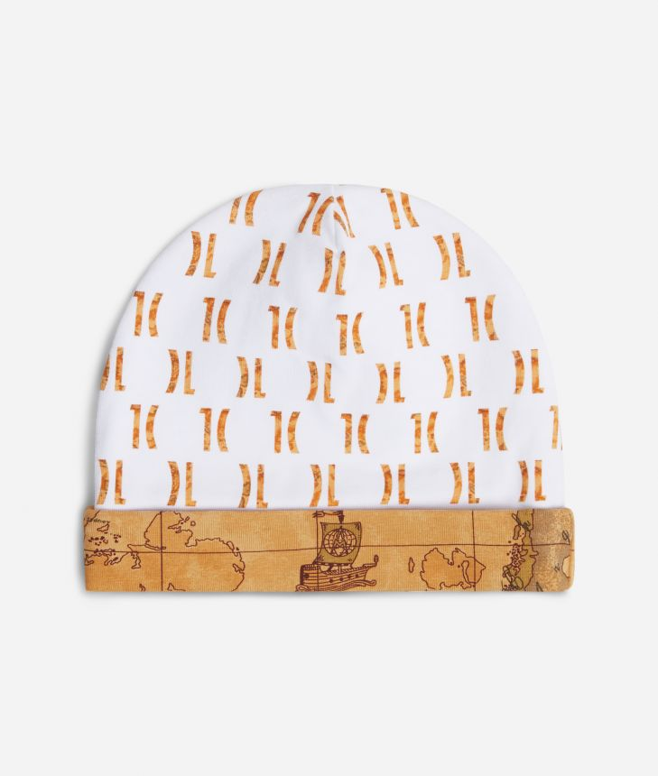 Baby hat with 1C logo all over print,front