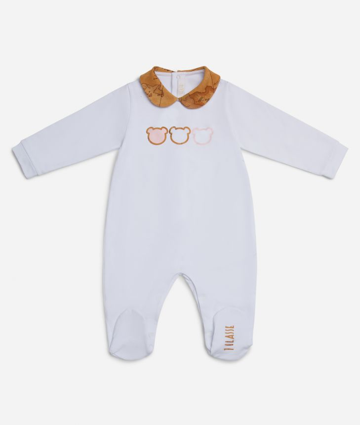 Baby girl playsuit with teddy bears,front