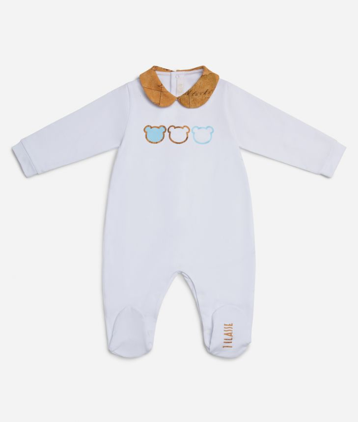 Baby boy playsuit with teddy bears,front