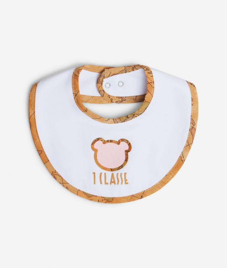 Baby girl bib with pink teddy bear,front