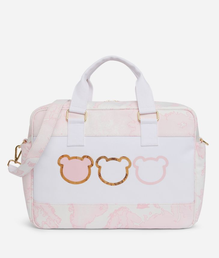 Changing bag in Geo Pink and teddy bears,front