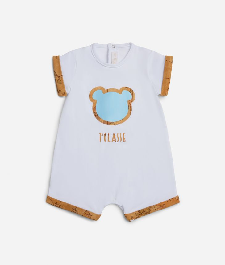 Baby boy romper with light blue teddy bear ,front