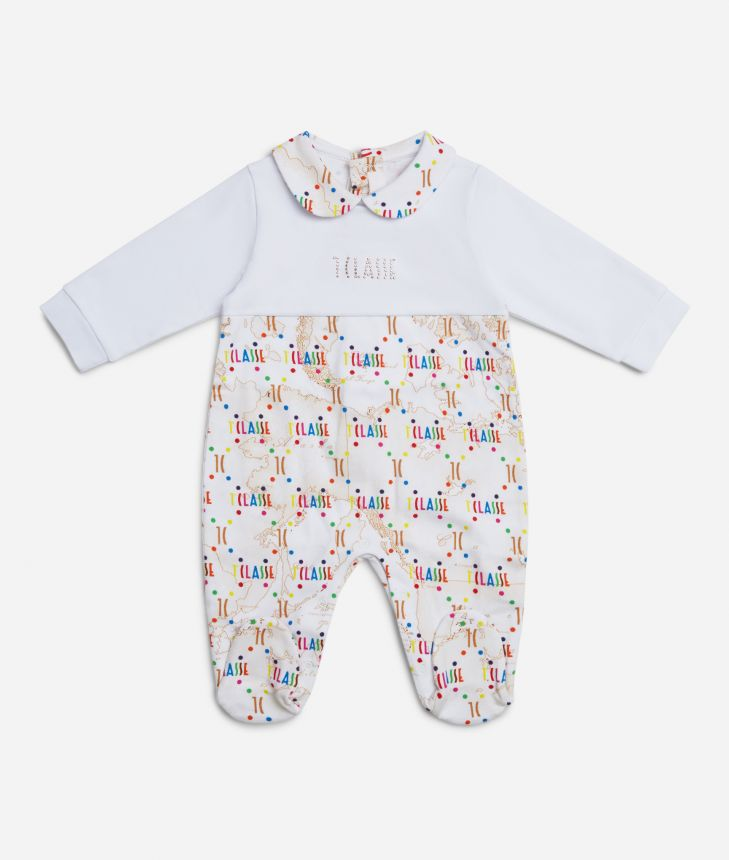 Baby playsuit in Geo Beige and multicolor logo,front
