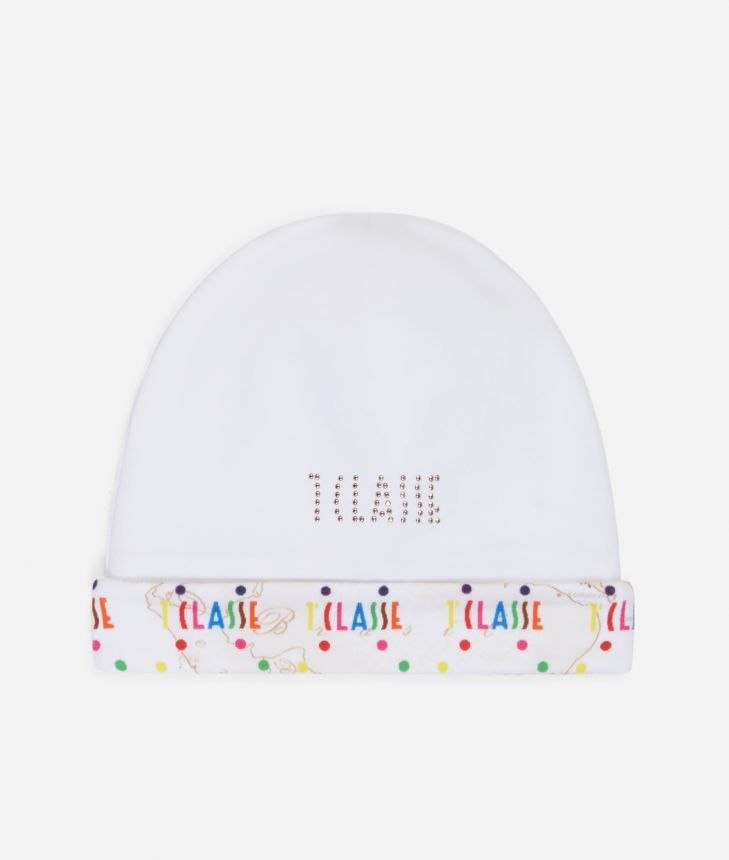 Baby hat in Geo Beige and multicolor logo,front