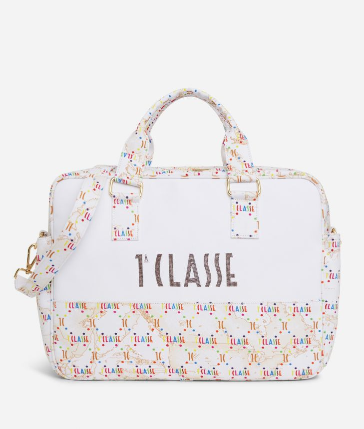 Changing bag in Geo Beige and multicolor logo,front