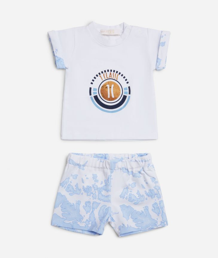 Baby clothing set in Geo Sky ,front