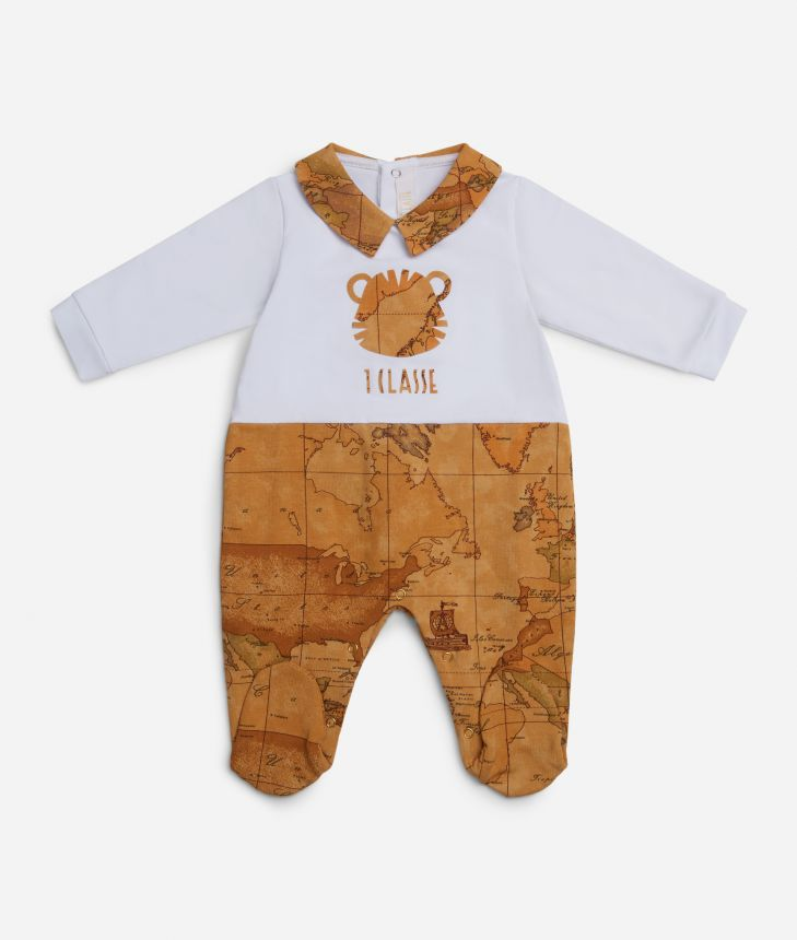 Baby playsuit with tiger and Geo map,front