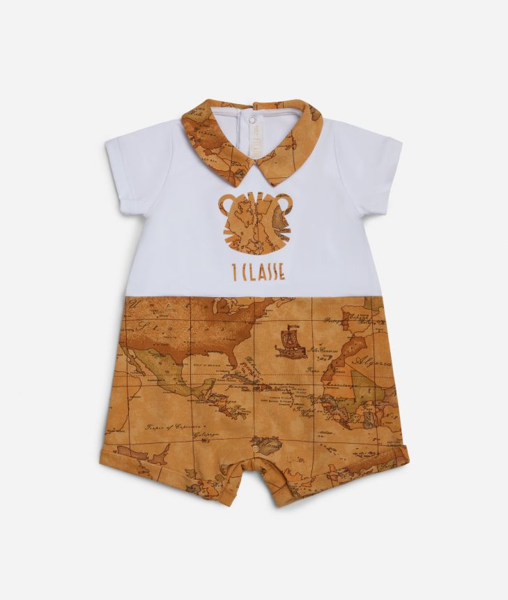 Baby romper with tiger and Geo map,front