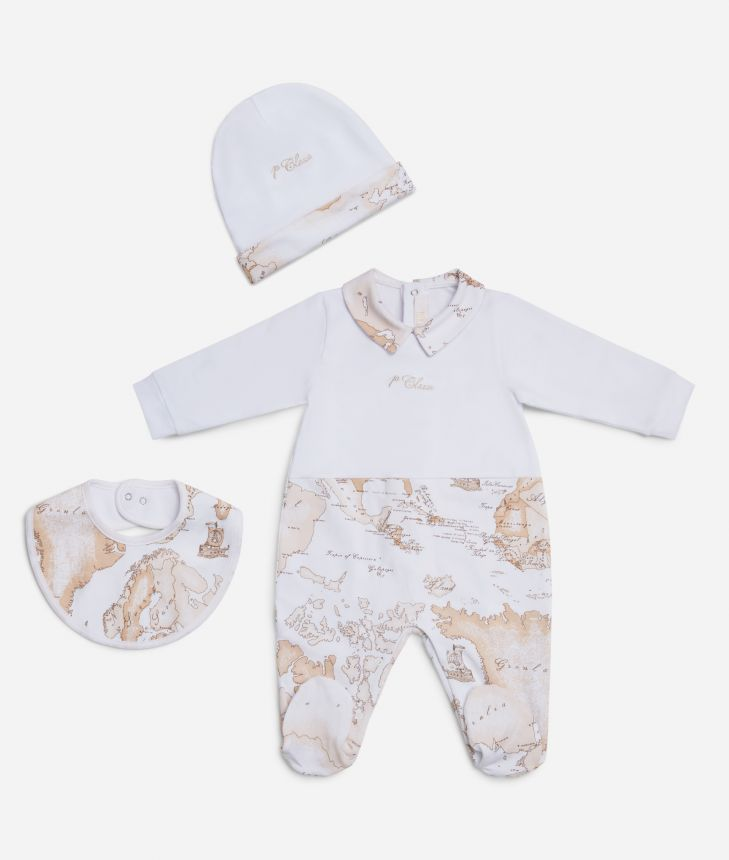 Baby set Geo Beige details,front