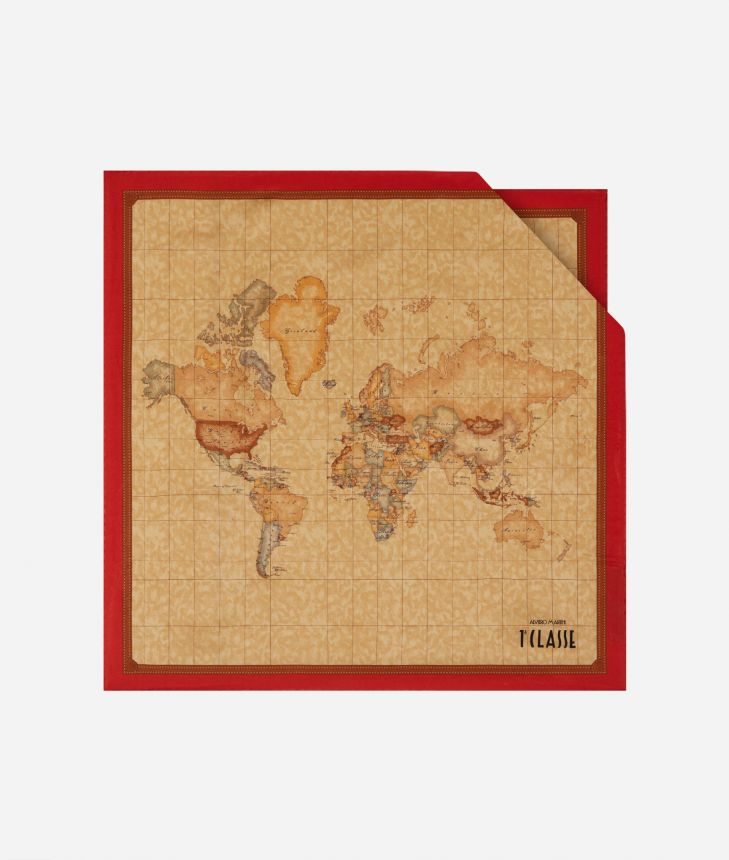 Foulard with Geo Classic print 50 x 50 Red,front