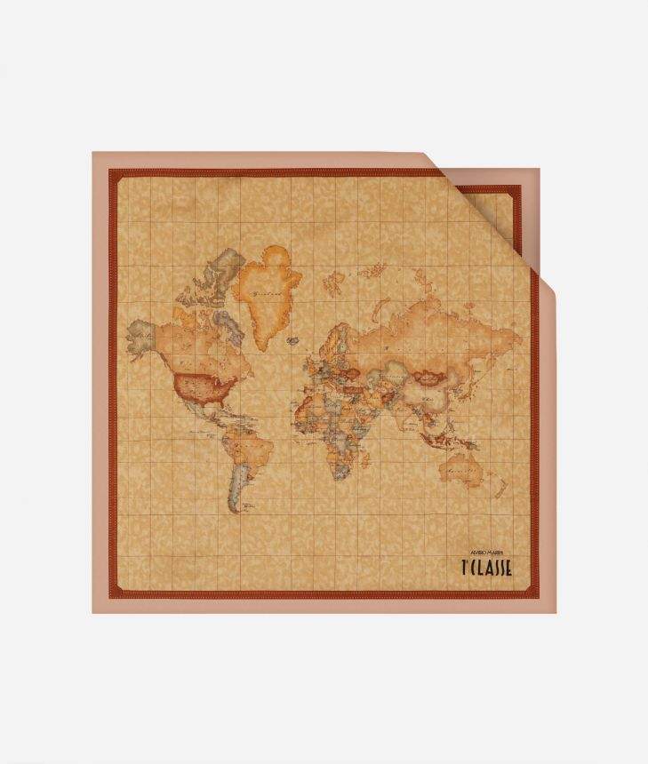 Foulard with Geo Classic print 50 x 50 Pink,front