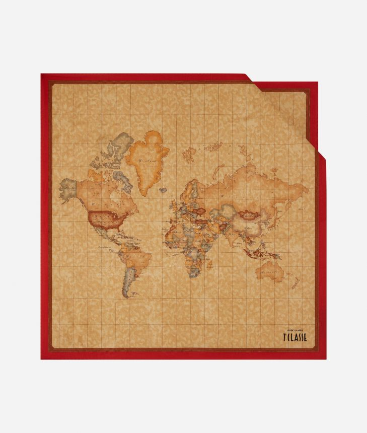 Foulard with Geo Classic print 70 x 70 Red,front