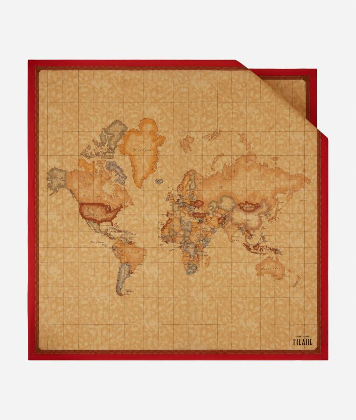 Foulard with Geo Classic print 90 x 90 Red,front