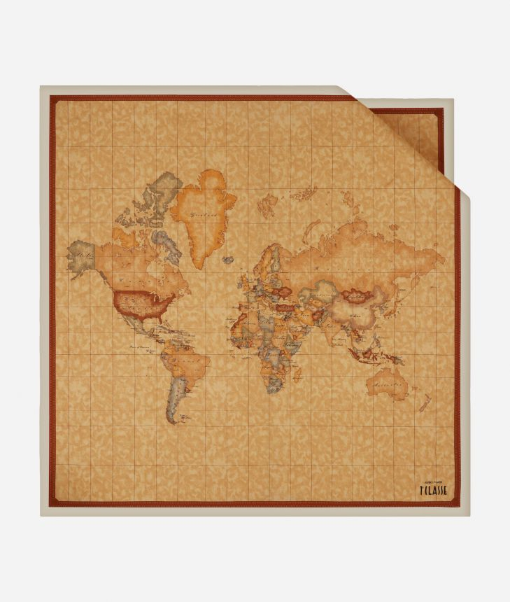 Foulard with Geo Classic print 90 x 90 Yellow,front