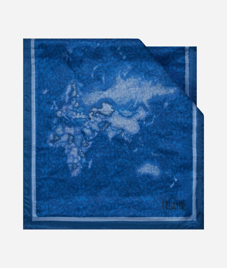 Scarf with Geo Color print 45 x 180 Blue,front