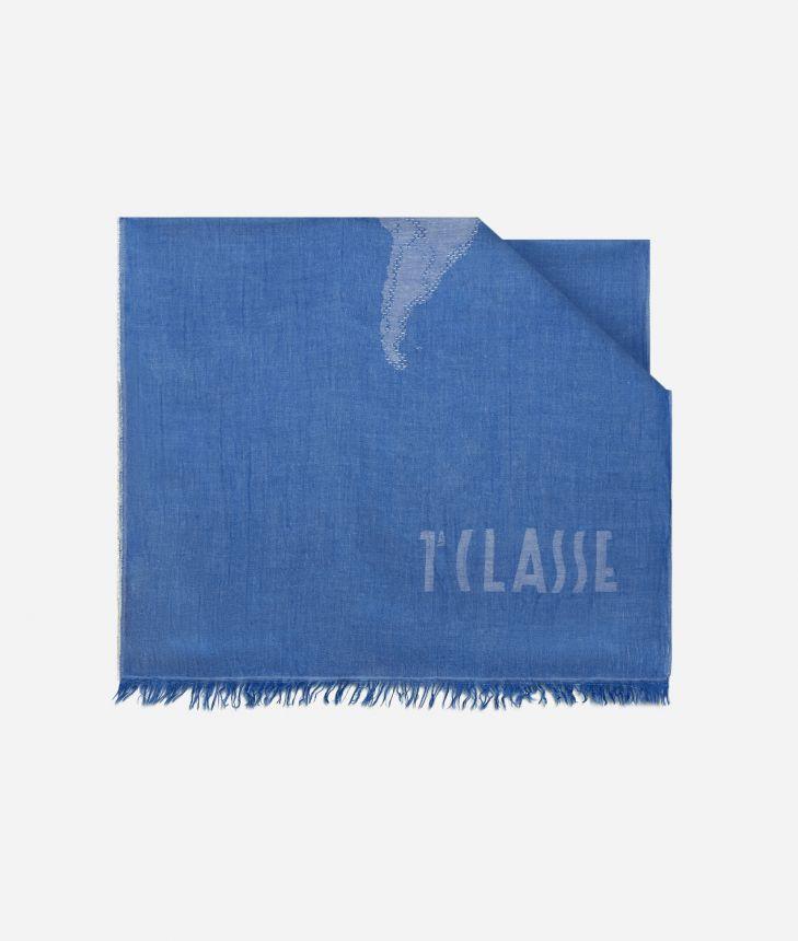 Scarf with Geo Pieno print 50 x 180 Blue,front