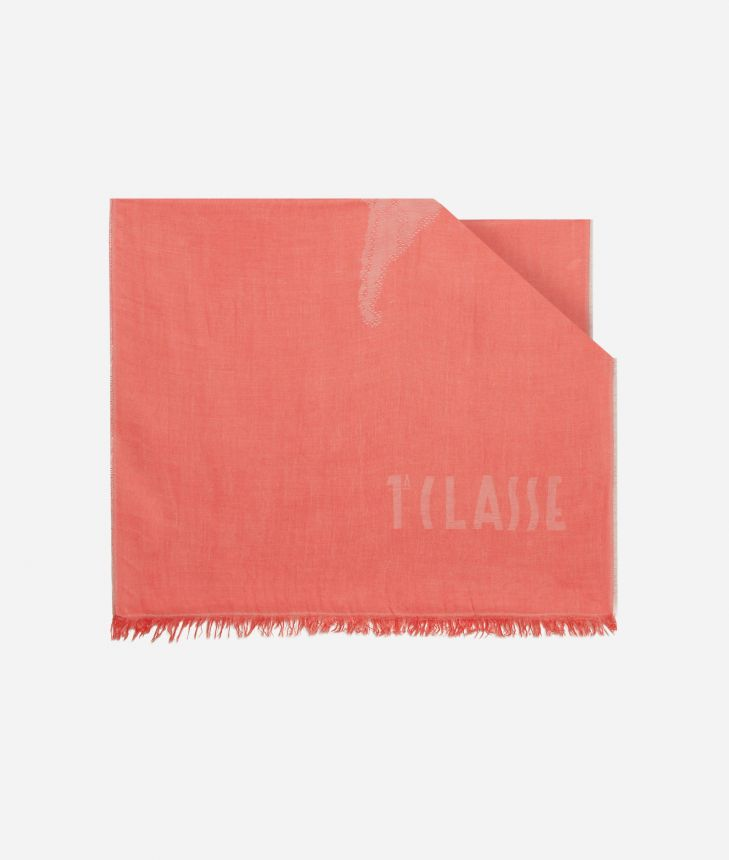 Scarf with Geo Pieno print 50 x 180 Red,front