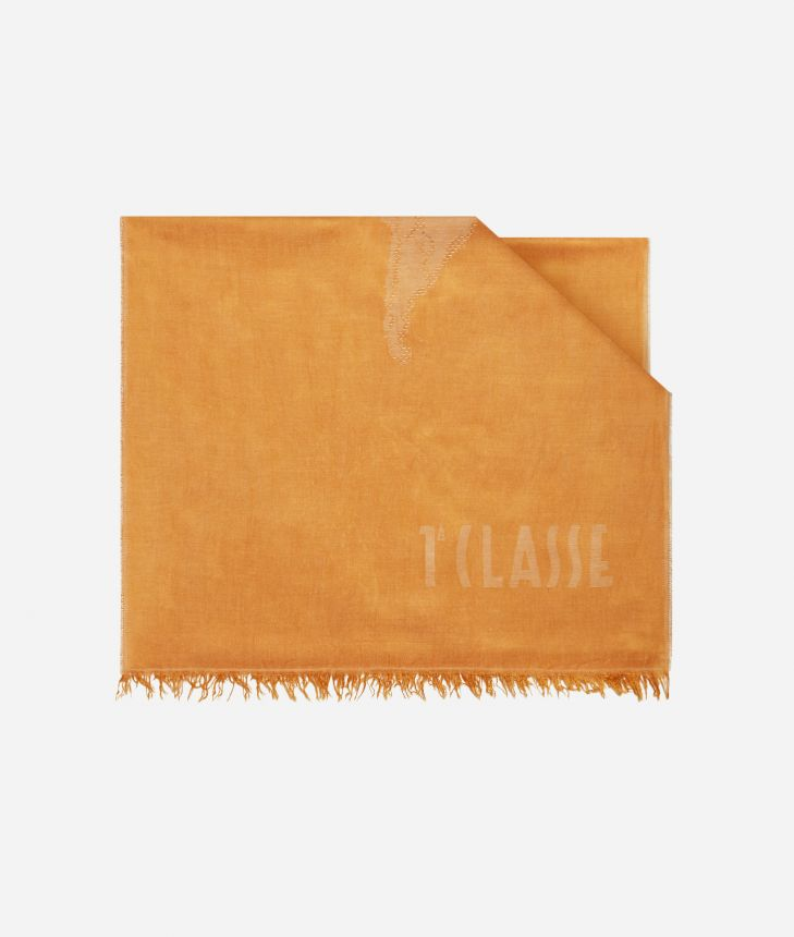 Scarf with Geo Pieno print 50 x 180 Orange,front