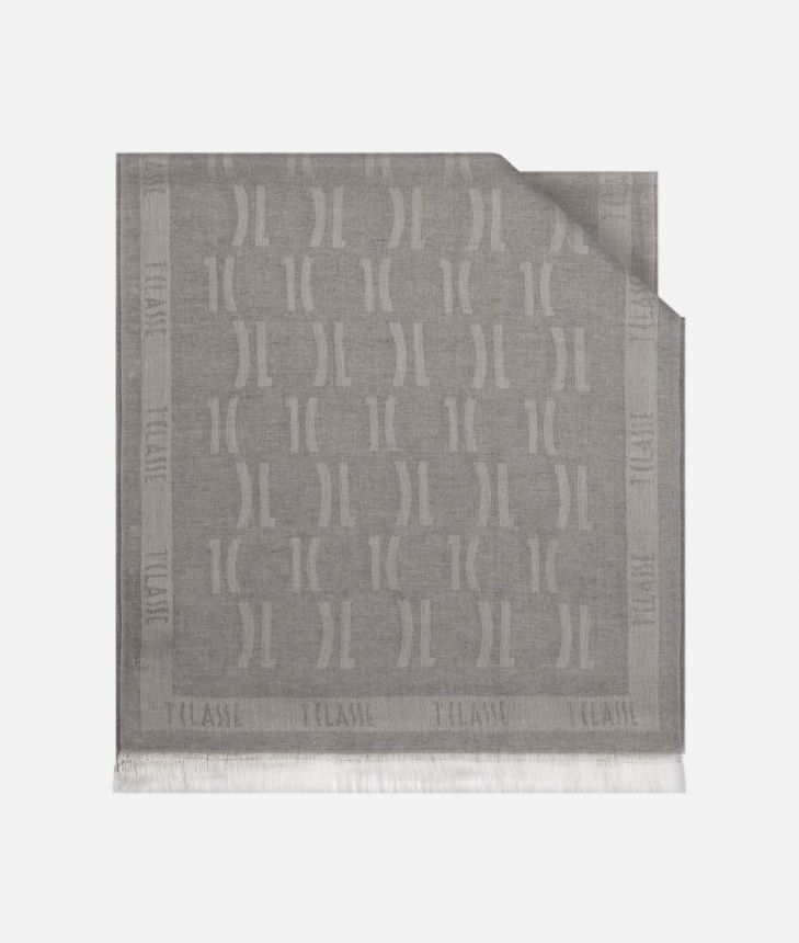 Scarf with 1C logo print 40 X 180 Grey,front