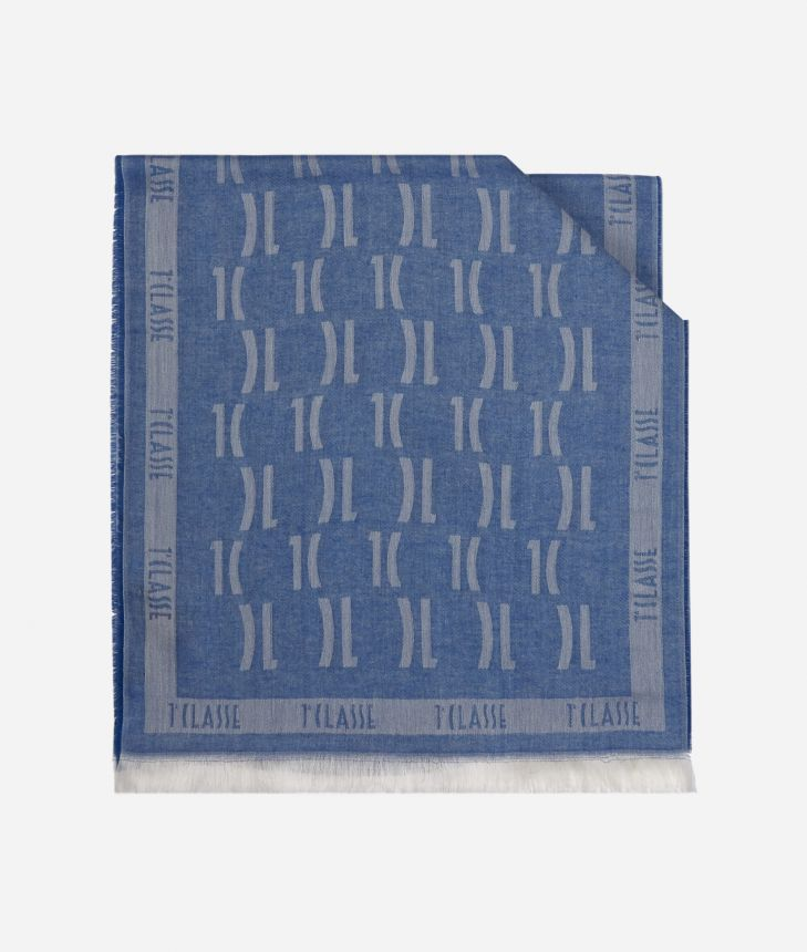 Scarf with 1C logo print 40 X 180 Blue,front