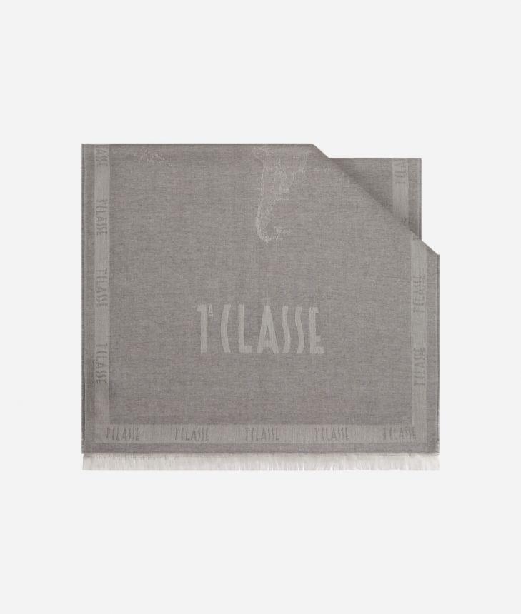 Scarf with Geo Filetto print 50 x 180 Grey,front