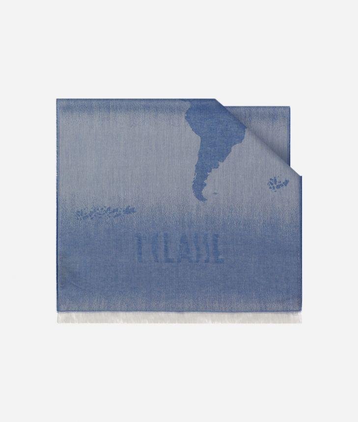 Scarf with Geo Pieno Degradé print 50 x 180 Blue,front