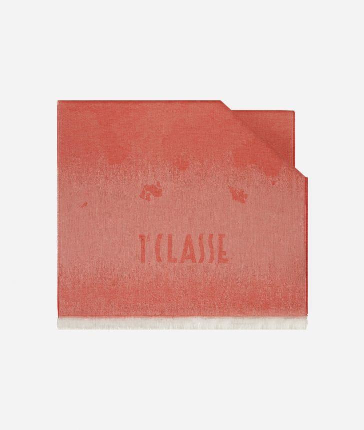 Scarf with Geo Pieno Degradé print 50 x 180 Red,front