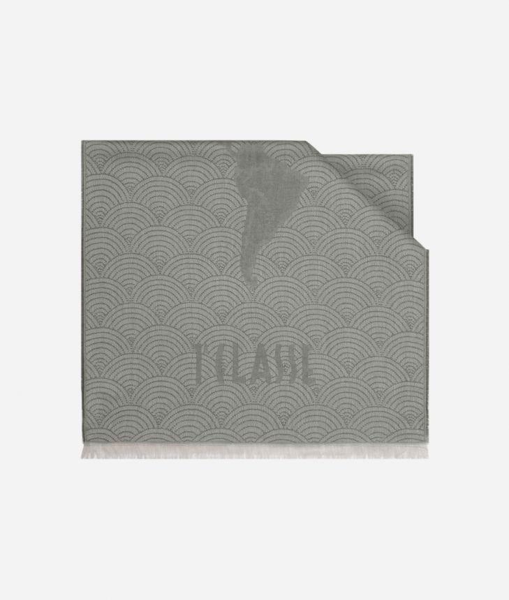 Scarf with Geo Pieno Décor print 50 x 180 Grey,front