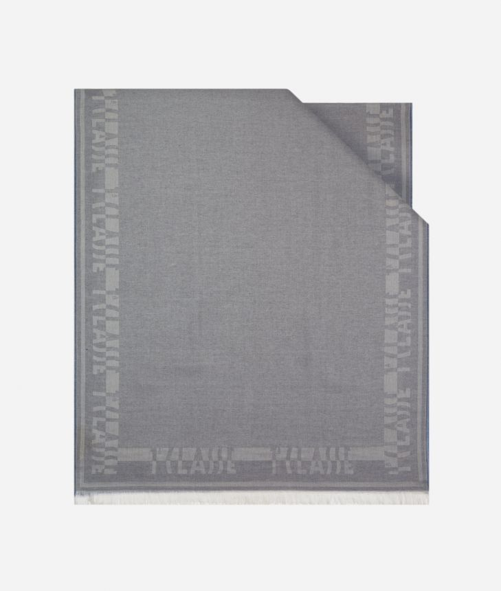 Bicolor Stole 80 x 180 Grey and Light Blue,front