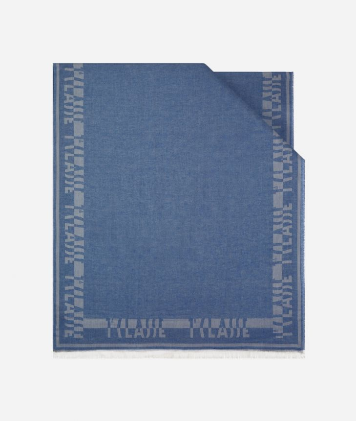 Bicolor Stole 81 x 180 Blue and Light Blue,front