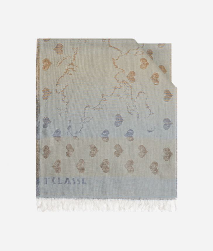 Scarf with Geo Filetto heart print  40 x 200 Brown,front