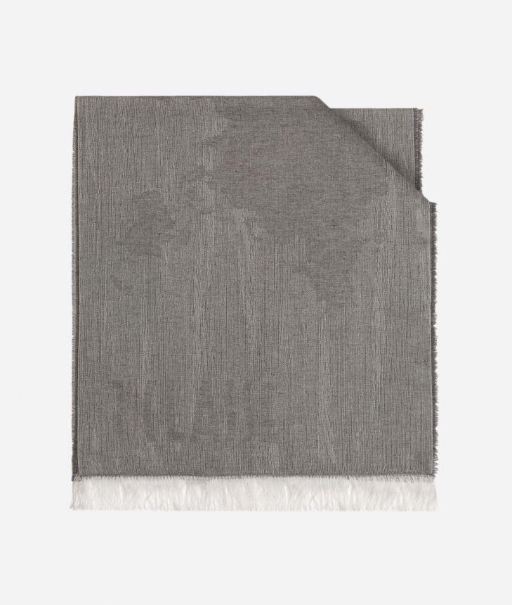 Scarf with Geo Pieno Mélange print 40 x 180 White,front