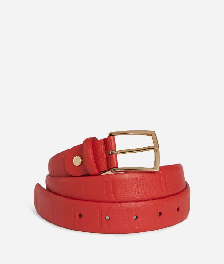 Nappa Monogram Belt in leather with 1C impression Red,front