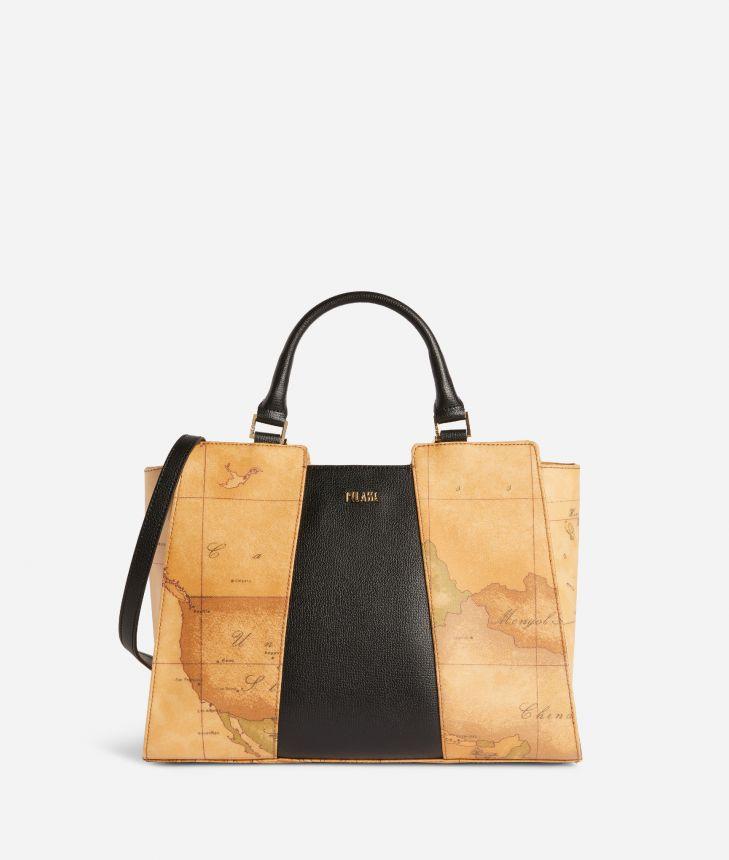 Lotus Flower Handbag in Geo Classic print fabric Black,front