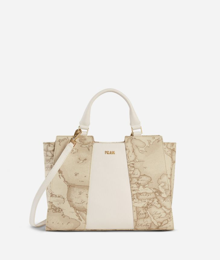 Lotus Flower Handbag in Geo Safari print fabric Beige,front