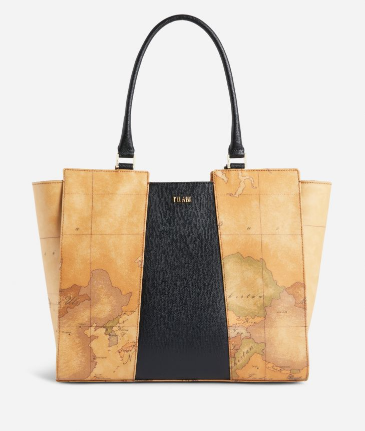 Lotus Flower Borsa Shopping in tessuto Geo Classic Nera,front