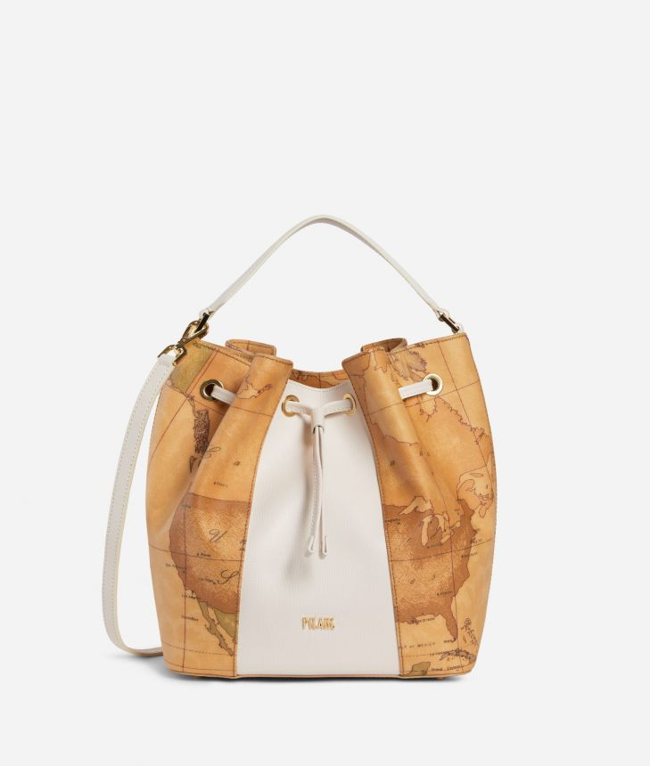 Lotus Flower Bucket Bag in Geo Classic print fabric White,front