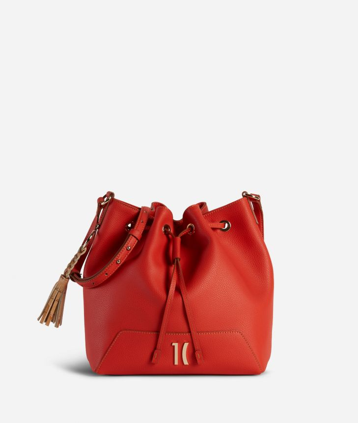 Pacific Bucket bag in grainy cowhide leather Red,front