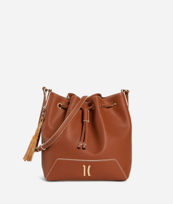 Pacific Bucket bag in grainy cowhide leather Brown,front