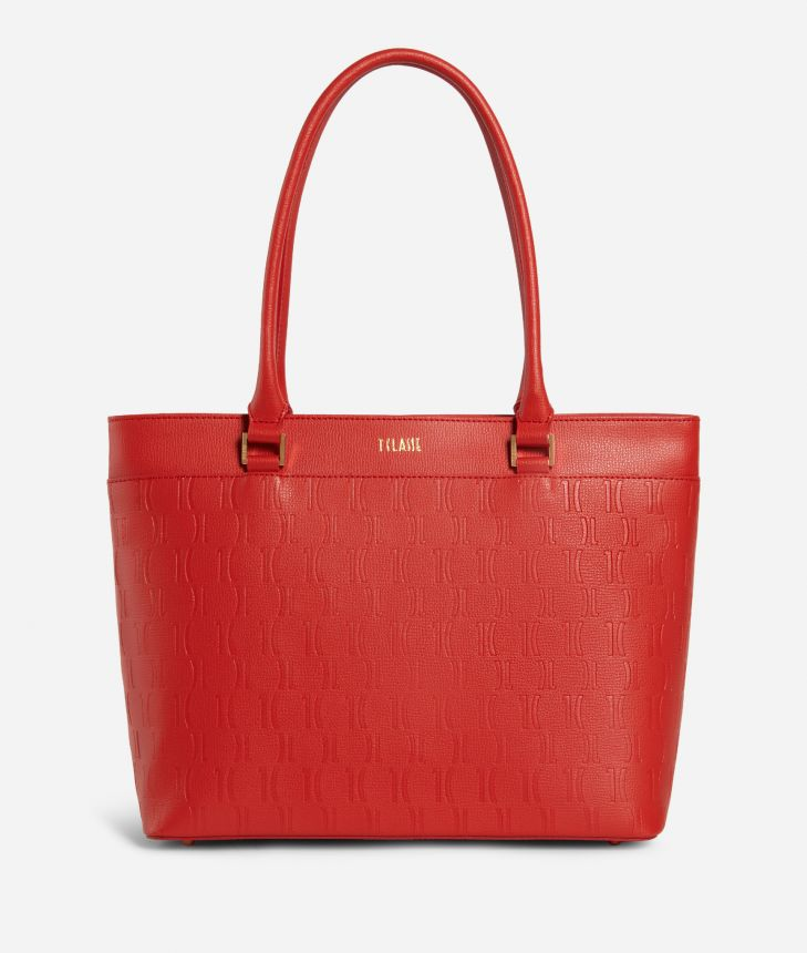 Nappa Monogram Shopping bag in leather with 1C impression Red,front