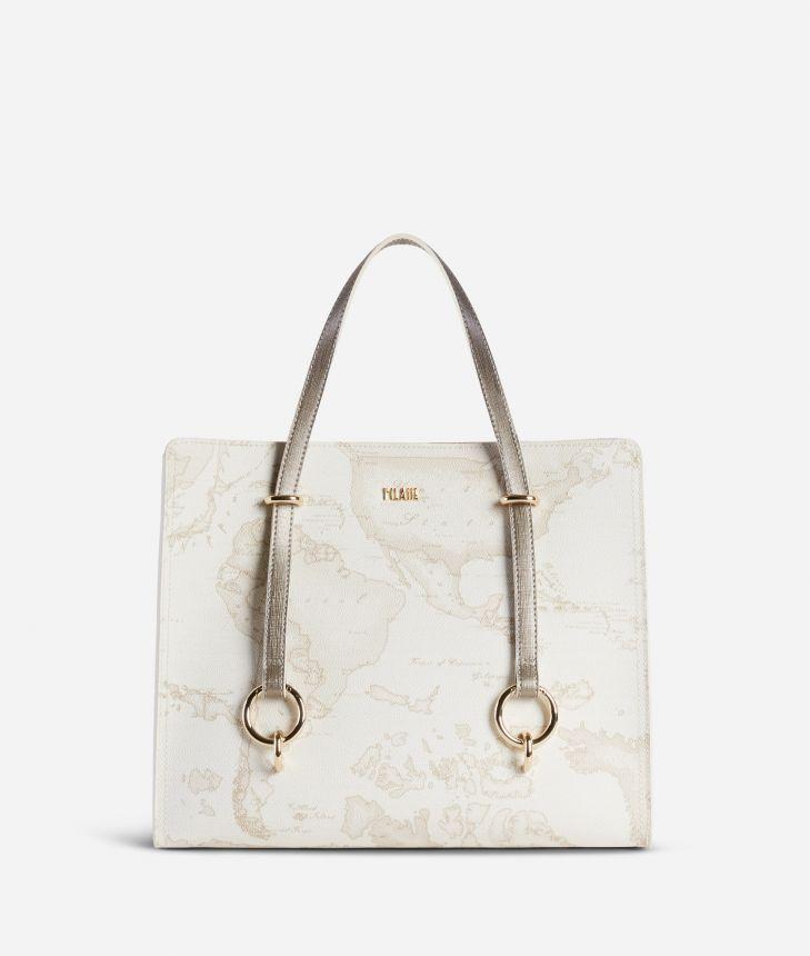 Geo Boulevard Convertible handbag in Geo White fabric,front