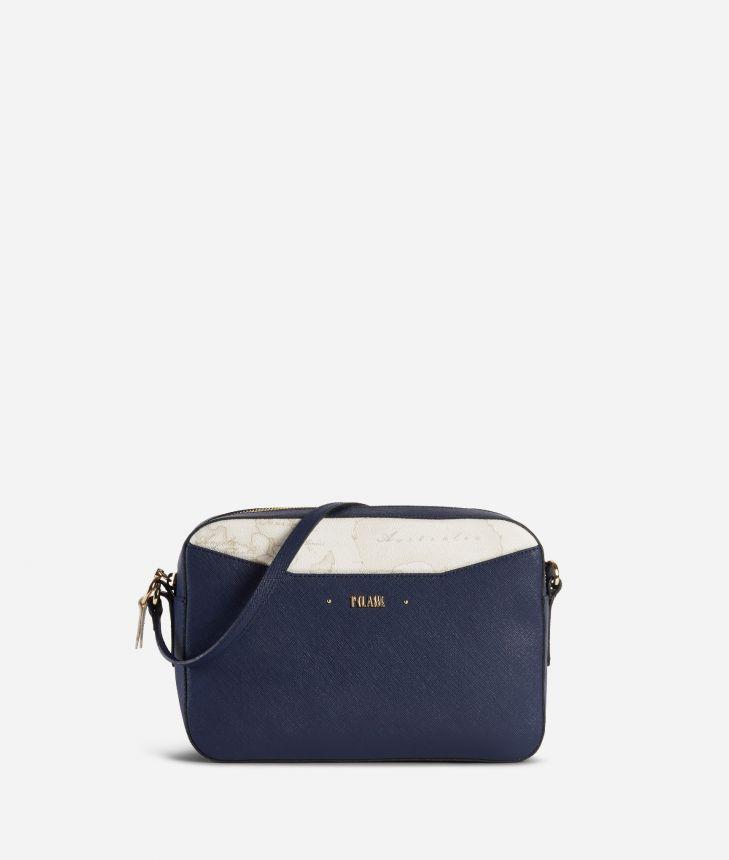 Star City Medium crossbody bag with Geo White insert Blue,front